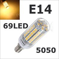 2014 NEW ARRIVAL LED lamps E14 5050 69LEDs 15W High Brightness & Quality 5050 SMD Corn LED Bulb AC 220V LED Light 1Pcs/Lots