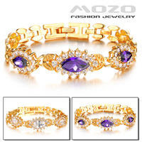 Free shipping wholesale new fashion jewelry Purple/white Cubic zirconia braclets women 18K gold plated bracelets & bangles TY418
