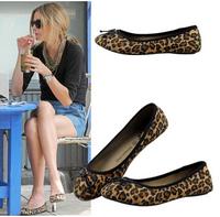 New 2014 Plus Size 35-41 Women FlatsLoafers  Brown Rivets Leopard Print Flats Shoes for Women  Wholesale Price