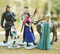 Free Shipping 6pcs/set Frozen Anna Elsa Hans Kristoff Sven Olaf PVC Action Figures Toys Classic Toys 20sets/lot