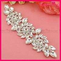 New Arrival19.3x5.4cm Shiny Silver Crystal Rhinestone Applique Clear Wedding Motif for Bridal Gown Sash WRE-098
