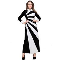 2014 New style black and white stripe patchwork long sleeve muslim women fashion dress,islamic long dress