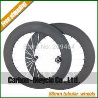 Only 1475g!powerful 88mm tubular 700C carbon fiber ultra light road bike wheels super light powerway R13 hub