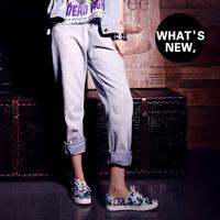 BF light blue wearing white street all-match straight denim trousers female plus size high waist pants