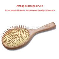 Styling Hair Tool Airbag Massage Antistatic Detangle Brush, Natural Wood & Environmental Friendly Rubber Teeth Protect Scalp