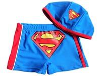 Free Shipping 6pcs/lot hot kids baby superman swimming trunks swimwear  hat+shorts kids boys beach swimming wear short wholesale