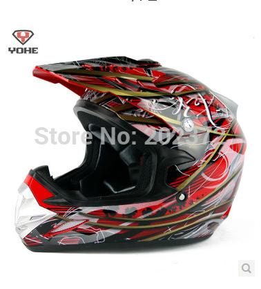 Motorcycle helmet yh-623-b-y1 professional off-road helmet red gold interdiffused YOHE 623 motorcross Full face helmet(China (Mainland))