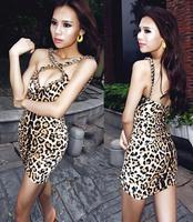 winny 2014 new European fashion leopard nightclub ROCK golden chain strap halter sexy dress