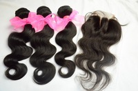 4Pcs Lot queen hair cambodian body wave 3 part lace closure with bundles,unprocessed virgin cambodian hair weave freeshipping