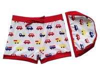 Free Shipping 5pcs/lot hot kids baby CAR swimming trunks swimwear hat+shorts kids boys car beach swimming wear short wholesale