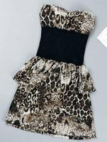 Winnyfu 2014 spring new nightclub leopard neck Tee Dress Slim was thin package hip sexy dress two colors