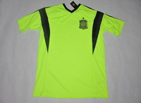 Embroidery Logo 2014!!! Spain Goalkeeper Green Soccer Shirt,Thailand Quality Spain Green Jersey+Free Shipping