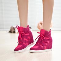 Elevator sport shoes Women color block decoration velcro high-top shoes platform wedges casual shoes women's shoes