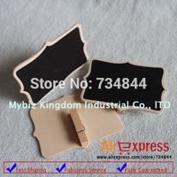 100 x  Mini Blackboard Chalkboard Pegs Wooden Clips Fancy Wedding Party Place Cards Decor