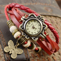 Drop Shipping!Hot selling! Variety Of Styles Women Leather Vintage Watches, Electroplating Ancient bronze Pendant Bangles Watch