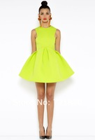 Fashion Dresses Women 2014 Spring Slim Cute Sweet Lovely Sleeveless Dress Fluorescent green Black Free Shipping