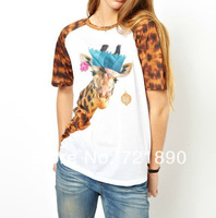 Top Tees Women Animal Giraffe Print Leopard Patchwork Short Sleeve T-shirt Top Tees Casual Free Shipping