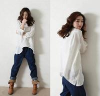 Shirt women brand new 2014 plus size women clothing fashion long sleeve women's blouses linen flax tops clothing  woman's tops 7
