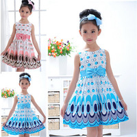 2014 Kids Girls Dress cute peacock color sleeveless princess dress circle Korean Fashion Blue children's clothing New
