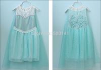 Frozen Girl sleeveless Dress Brand Princess Party lace Dress Summer Short Sleeve Shimmer Mesh Tutu Dress Girl Clothing 20ps/lot
