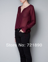 Chiffon Blouses Women See-through Women's Clothes Bottom Elastic Cuff V-neck Wine red Blouses 2014 Spring Free Shipping
