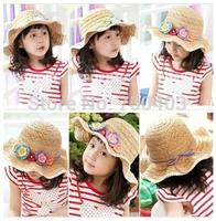 2014 New Children's Manual QiCaiHua Wave Straw Hat Han Edition Summer Sun Hat  Girls Summer Beach Hat Four Colors