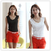 knitted cotton lace vest spaghetti strap women tank top 2014 new solid sleeveless camis halter sexy enda colete feminina XXL