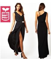 Free shipping 2014 Summer Womens oblique shoulder V neck Asymmetrical maxi dress,Side Slit Open belt long dress
