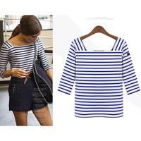OVO! new 2014 fashion women clothing wild striped half sleeve t shirt shirt women  high quality F.SZ.W.125