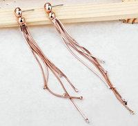 Retail & Wholesale 18K Rose gold plated fashion rhinestone tassel long dangle earrings 12cm