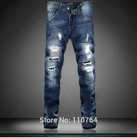 2014 D Fashion Men Jeans Slim Straight Hole Patch Style Famous Denim Jeans Blue Wash Fit Men High Quality Plus Size 38