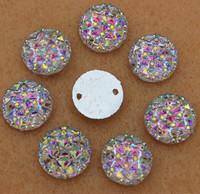 12mm 300PCS Crystal AB  Acrylic Flat Back Round Circle Shape Acrylic Rhinestone Sew On 2 Hole