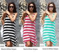 2014 Hot Sale Fashion Leisure Stripes Beach Dress Holiday Skirt bikini blouse 3 colors E2706#M4
