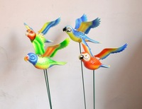 4 colors 6'' Parrot Plastic Garden Stake Funny Gift for Children, Garden Home Ornaments Decoration, Child Toy and Wedding Gift