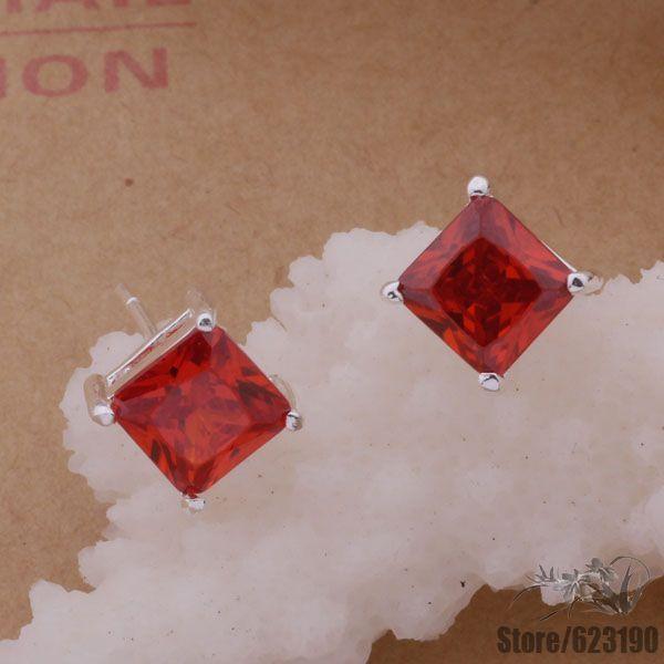 Ae238 925 чистое серебро серьги, 925 серебро ювелирные изделия, Тёмный красный камень / eudanlka ggpaoxwa заклепочник santool 238 мм 032202 238