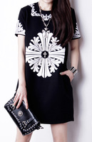 Fashion vintage baroque short-sleeve o-neck all-match loose plus size basic one-piece dress black summer dress