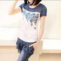 Free Shipping Brand New 2014 Summer Short Sleeve O-Neck Top Tees Embroidery Women Clothing Shirt Blouse Shirts 3 Colors