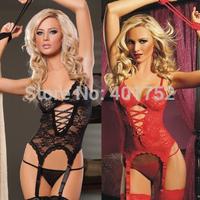 Qs114      2014 New Hot Sexy Women's Open Bra Lace Corset with G String Handcuff Garter Belt 4 pcs/set Costumes Dress Lingerie