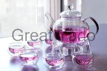 1 glass teapot 600ml+6 double wall tea cups+1 teapot warmer 8pcs/set free shipping(China (Mainland))