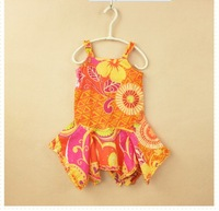 All cotton material simple and sweet bright colors sling print children's 2014 summer dress