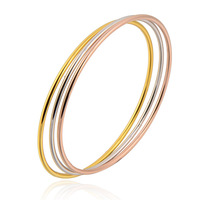 Wholesale Amazing 18K Two Tone Gold Plated Woman's Bangle Set