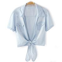 2014 new summer women hem short-sleeve blouse denim colored  shawl 2 style