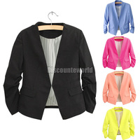 2014 Fashion Winter New Womens Ladies Candy Color Short Slim Coat Suit Blazer Jacket Outerwear Black Blue Yellow Pink Size S M L