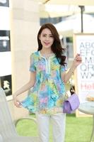 New 2014 spring summer Chiffon base blouse printed flower fold short-sleeve beading diamante Korea Fashion plus size loose M-2XL
