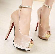 Nova alta sapatos de salto 2014 vermelho fundo sapatos de luxo mulheres bombas de salto alto sapatos de couro PU sexy verão sandálias gratuitas baratos(China (Mainland))