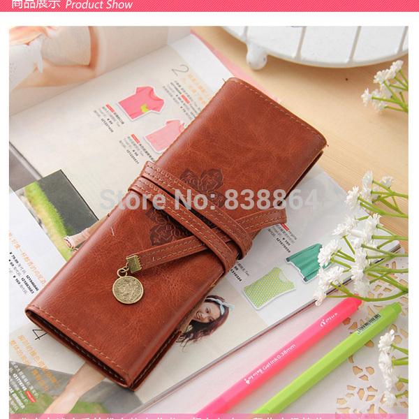 aliexpress ferrshipping 2014 Twilight new style stationery vintage leather big capacity pencil case cosmetic bag(China (Mainland))