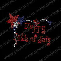 Cheap Happy 4Th Of July Iron On Rhinestone Transfer Stones For Clothing Decoration 50Pcs/Lot Free Shipping