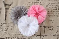 Baby girl hair flower vintage chiffon shabby look flower flat back 18 colors