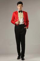 2014 new red men's tuxedo suits sequins collar edge party show evening dress men clothing set (jacket+pant+girdle+tie)