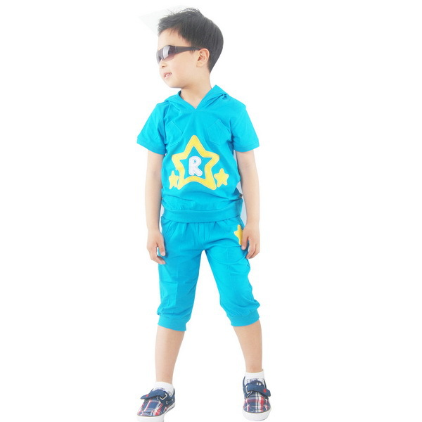 Summer Discount Hooded Boys Casual Clothing Sets Size 90-120 cm Star Print Children Kids Cartoon Suits Free Shipping Z611035(China (Mainland))